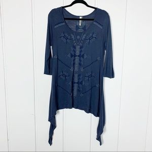 Boho Embroidered Aztec Blue Tunic Top B1